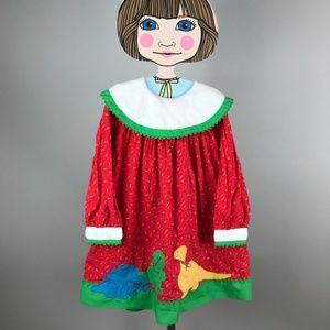 80's Girls Dinosaur Dress Floral Size 6X Youngland